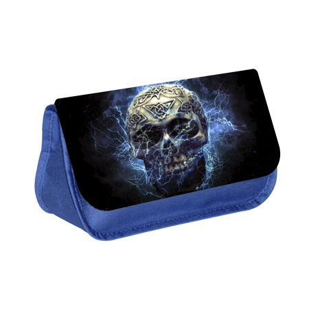 Electric Skull Blue Medium Sized Makeup Bag with 2 Zippered Pockets and Velcro Closure (Make Up Skull)