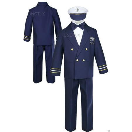 Infant Toddler Boy Party Formal Captain Nautica Sailor Suit Hat Outfits Navy 1-7](Navy Sailor Suit)