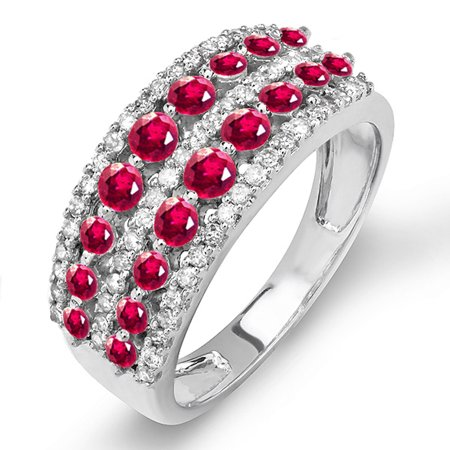 Dazzlingrock Collection 14k Round Ruby And White Diamond Ladies Anniversary Wedding Band Ring, White Gold, Size 8.5