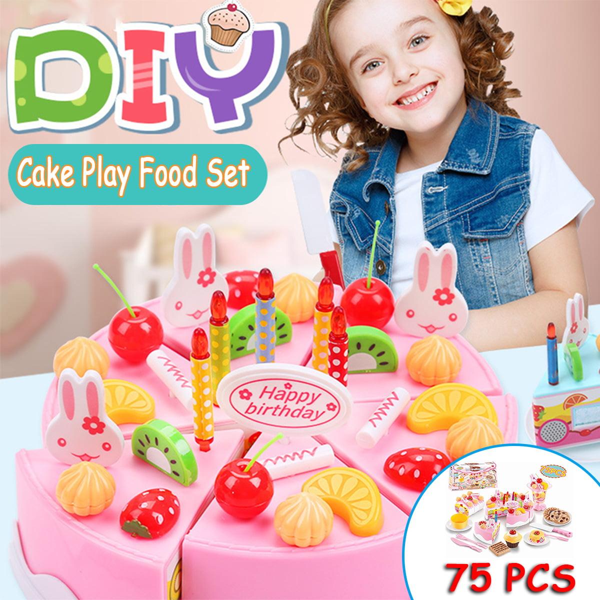 Surprising Birthday Cake Play Food Set Pink 75 Pieces Plastic Kitchen Cutting Personalised Birthday Cards Veneteletsinfo