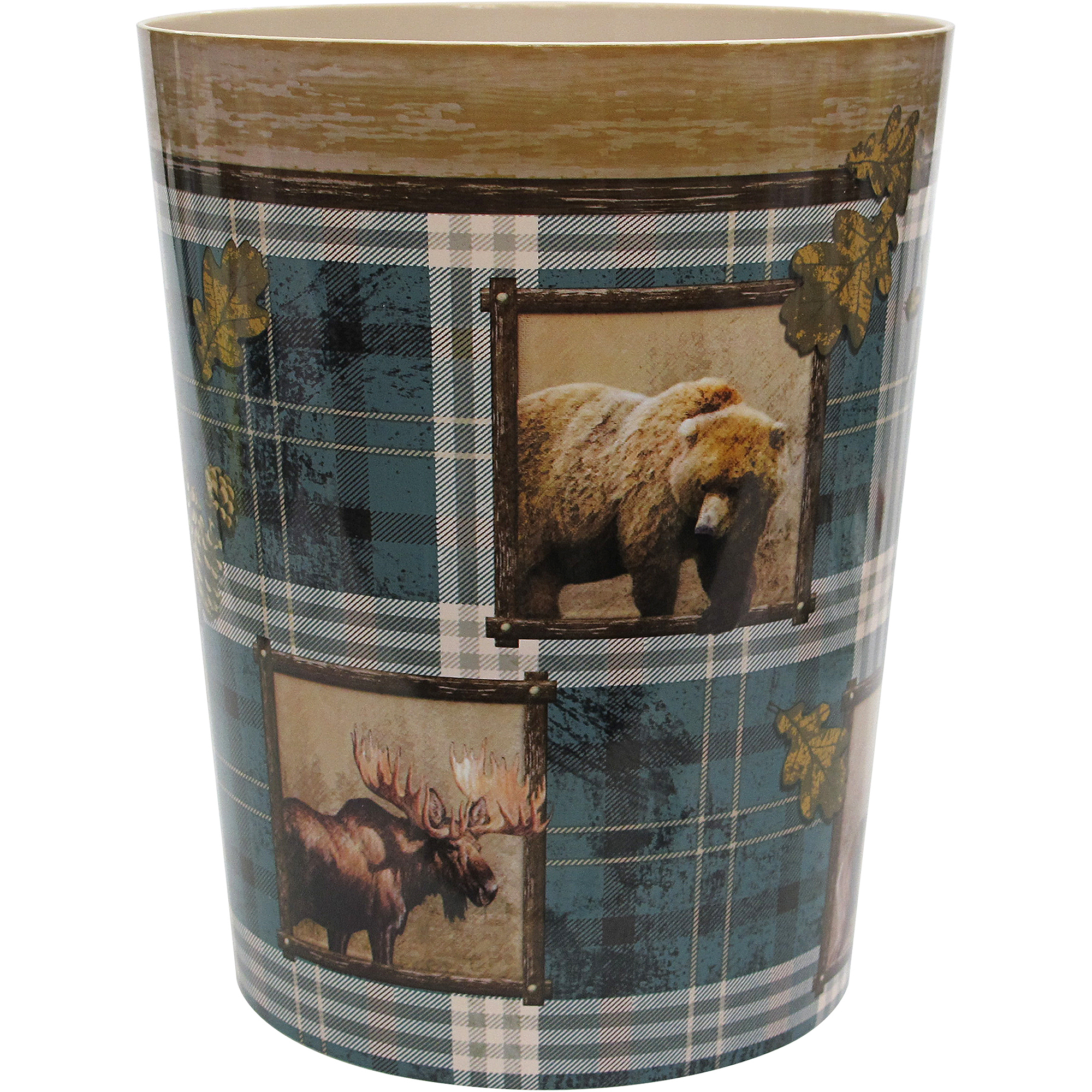 Mainstays Plaid Lodge Wastebasket