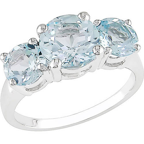 Tangelo 4-1/4 Carat T.G.W. Blue Topaz Sterling Silver Three Stone Ring