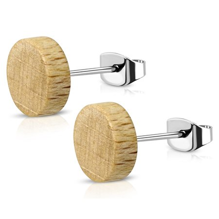 Organic Natural Wood Illusion Round Circle Stainless Steel Button Stud Post Earrings