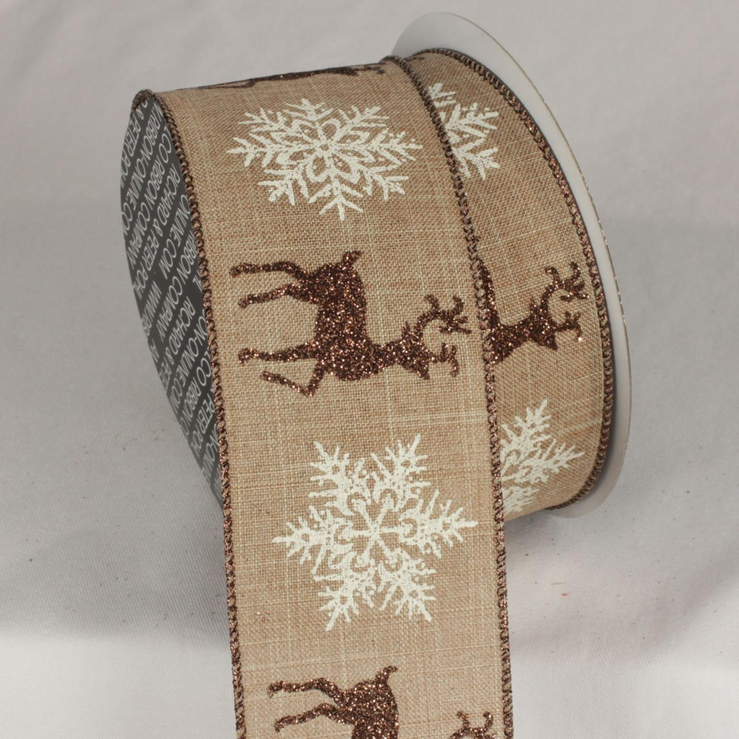 """Toffee Brown and White Christmas Snow Stag Wired Craft Ribbon 2.5"""" x 20 Yards"""