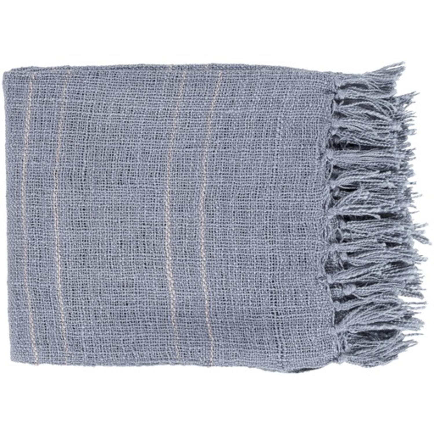 "Slate Blue with Dove Gray Stripes Woven and Fringed Throw Blanket 50"" x 60"""