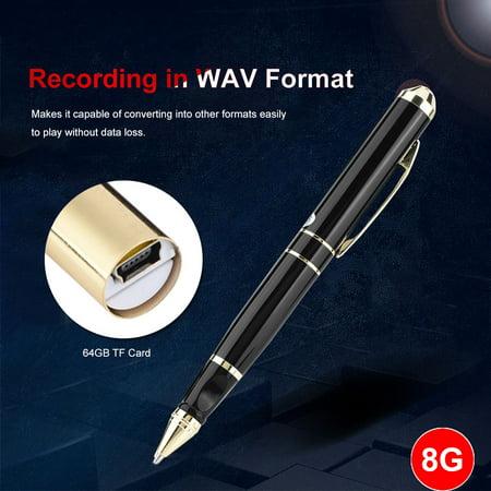 FAGINEY Digital Audio Recording Devices, Digital Voice Recorder Pen,8GB Memory & 64GB TF Card Pen Shape Digital Voice Recorder 28-hour Recording Voice Recorder Pen ()