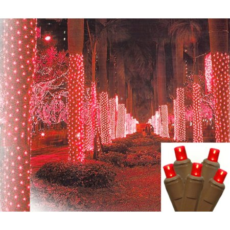 2 X 8 Red Led Net Style Tree Trunk Wrap Christmas Lights   Brown Wire