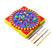 Fishing Toy With 21 Fish 4 Poles Battery Operated Musical Fishing Game