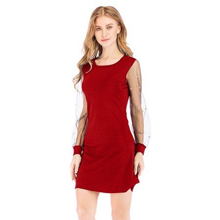 Women Autumn Dress Pearl Beading Mesh Tunic Boat Neck Long Sleeve A Line Elegant - Buy Slipknot Jumpsuit