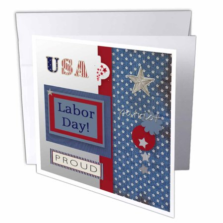 3dRose Patriotic Stars and Words in Blue, Silver, White and Red, Labor Day, Greeting Cards, 6 x 6 inches, set of 12 - Labor Day Decorations Ideas