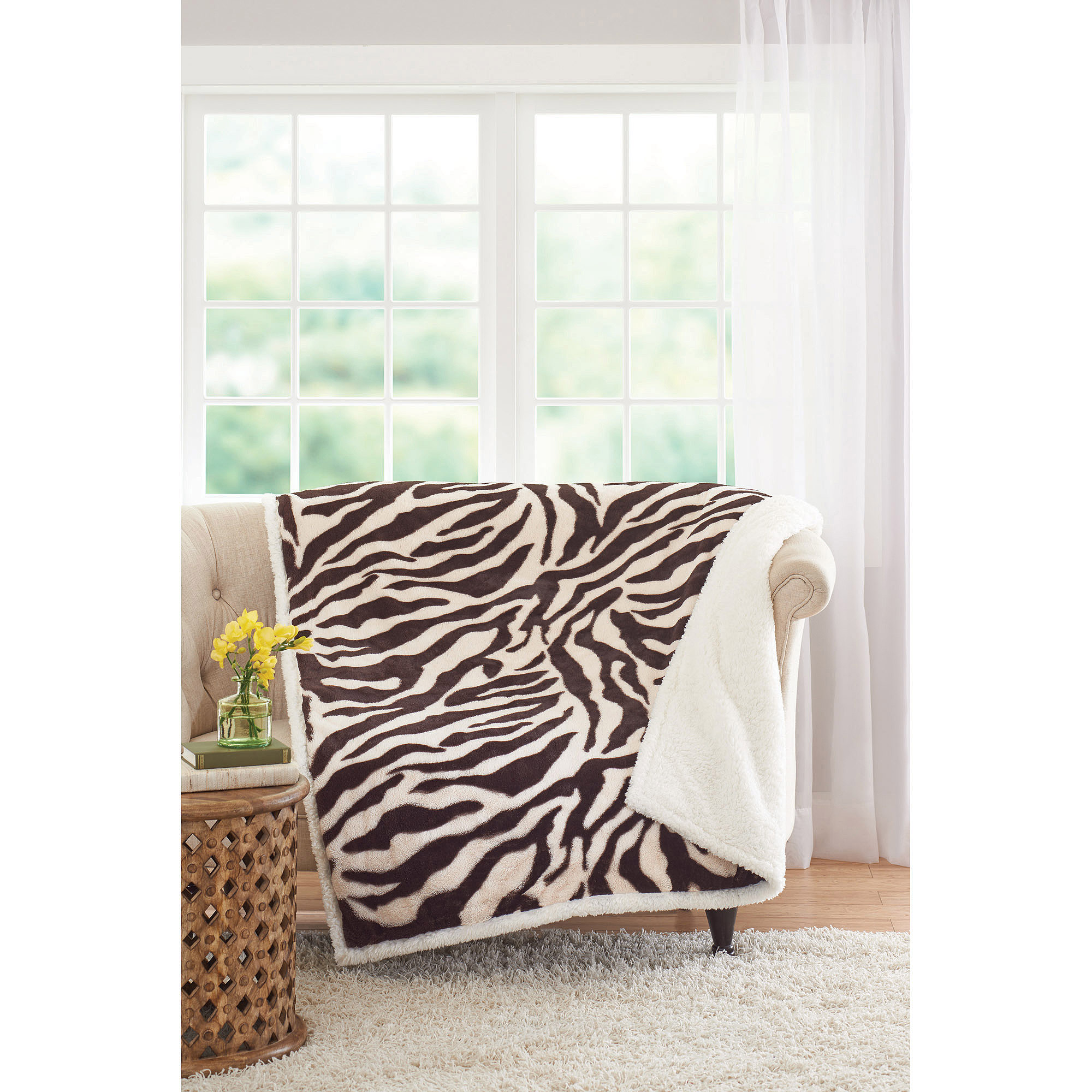 Faux fur fabric walmart - Better Homes And Gardens Faux Fur And Sherpa Throw Blanket Walmart Com