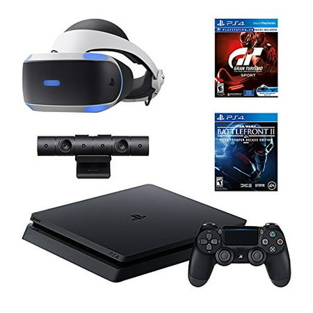 PlayStation 4 Slim Star Wars Battlefront II Bundle (2 Items): PS4 Slim 1TB Limited Edition Console - Star Wars Battlefront II Bundle, and PlayStation VR - Gran Turismo Sport