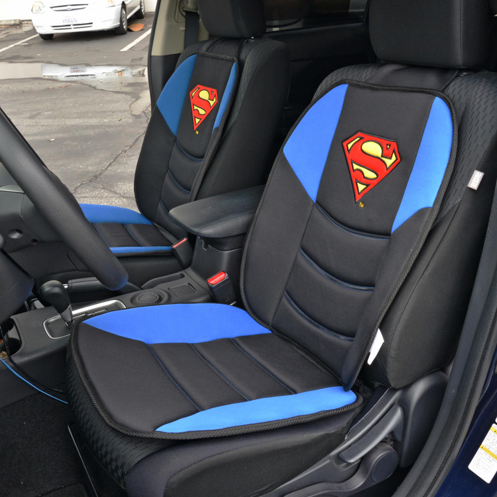 Superman Car Seat Cushion, Padded Comfort Support for Car Truck SUV Home and Office, Pair (2 Pieces)