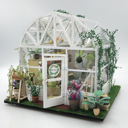DIY Dollhouse Wooden Miniature Furniture Kit Mini Green House Flower House with LED Birthday Gifts for Children Girls Women - image 2 of 7