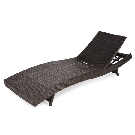 Best Choice Products Adjustable Modern Wicker Chaise Lounge Chair for Pool, Patio, Outdoor w/ Folding Legs - Brown ()