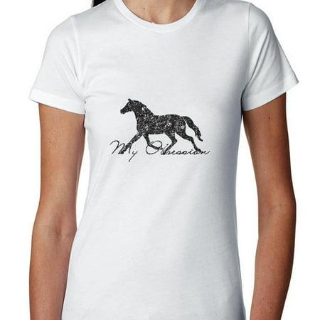 Horse Womens Shirt - Horse My Obsession Equestrian Horseback Pony Women's Cotton T-Shirt