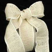 "Natural Cream Burlap Wired Craft Ribbon 2"" x 40 Yards"
