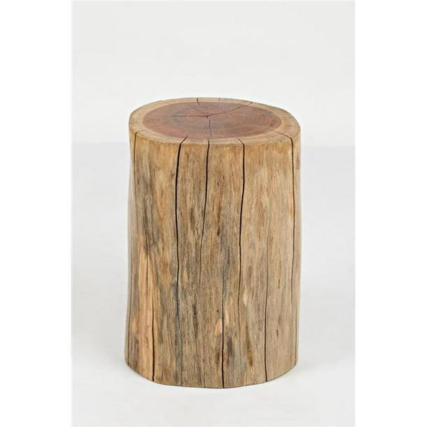 Benzara BM183916 Round Wooden Stump Accent Table, Natural