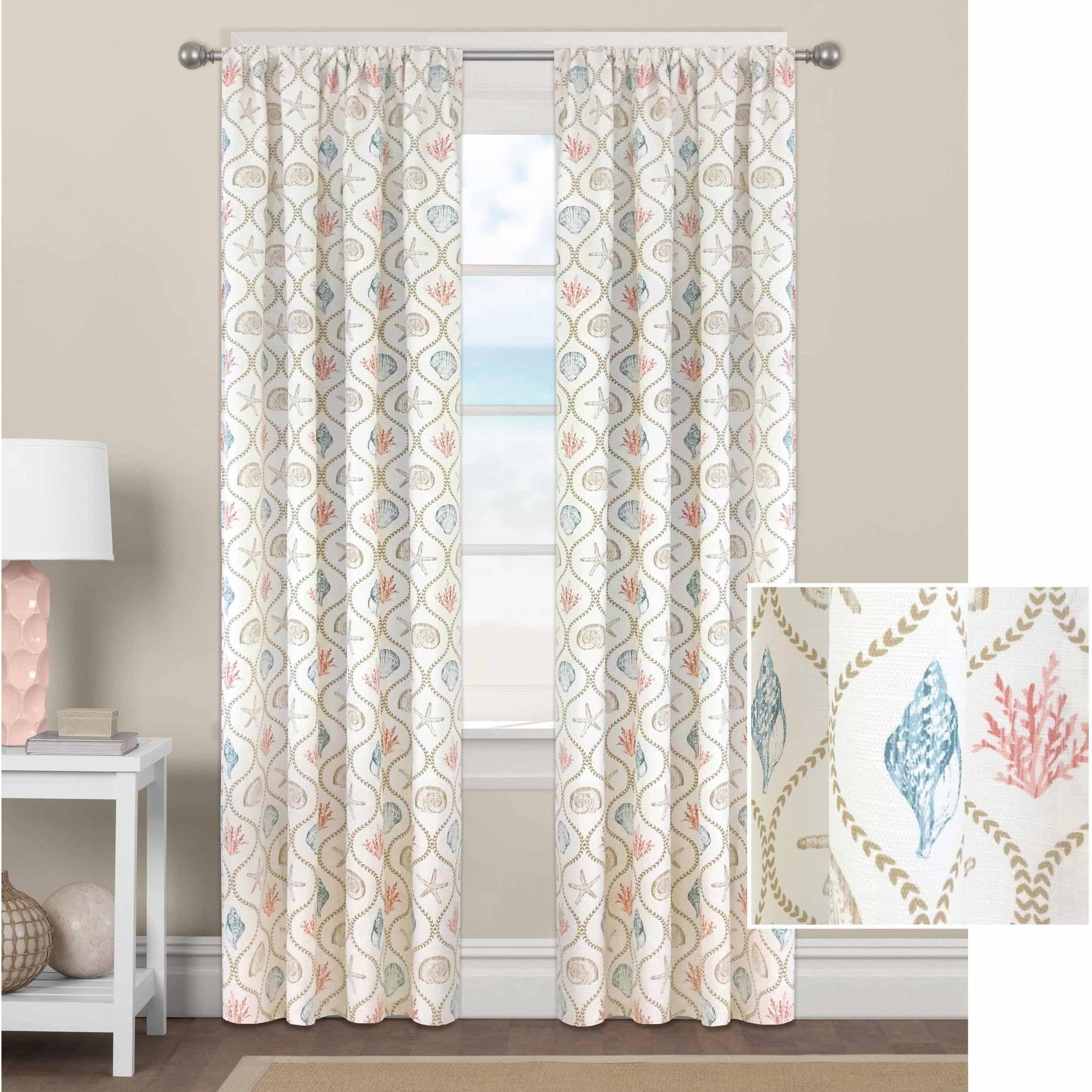 Better Homes and Gardens Coral/Aqua Ogee Shells Curtain