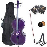 Cecilio Full Size 4/4 CCO-Purple Student Cello w/1 Year Warranty, Stand, Extra Set Strings, Bow, Rosin, Bridge & Soft Case