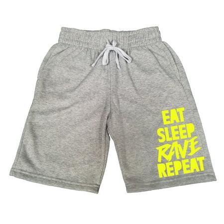 Rave Shorts Mens (Men's Eat Sleep Rave Repeat V425 Gray Fleece Jogger Sweatpants Gym Shorts)
