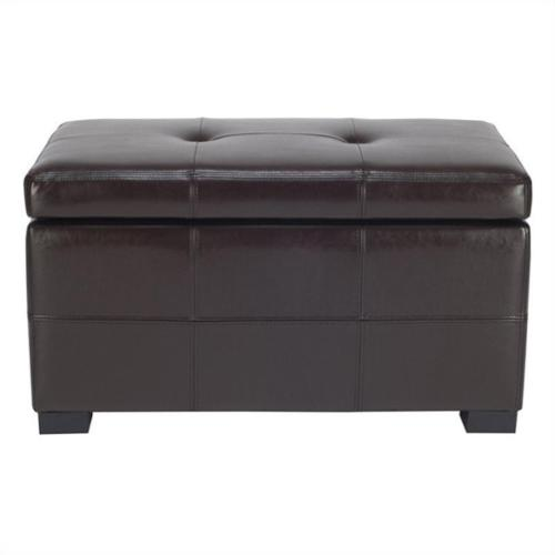 Tufted Leather Storage Ottoman