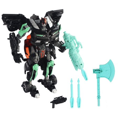 Transforming Action Combat Robot Transformer Black Chevy Coupe Sports Car Action