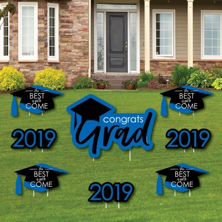 Blue Grad - Best is Yet to Come - Yard Sign & Outdoor Lawn Decorations - 2019 Graduation Party Yard Signs - Set of (Best Halloween Decorated Yards)