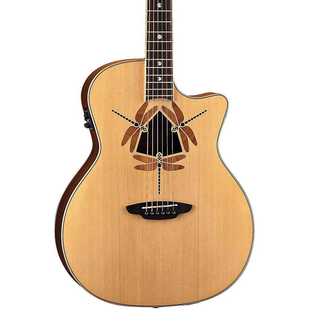Luna Oracle Dragonfly Spruce Top Acoustic-Electric Guitar, Rosewood Fretboard, Matte