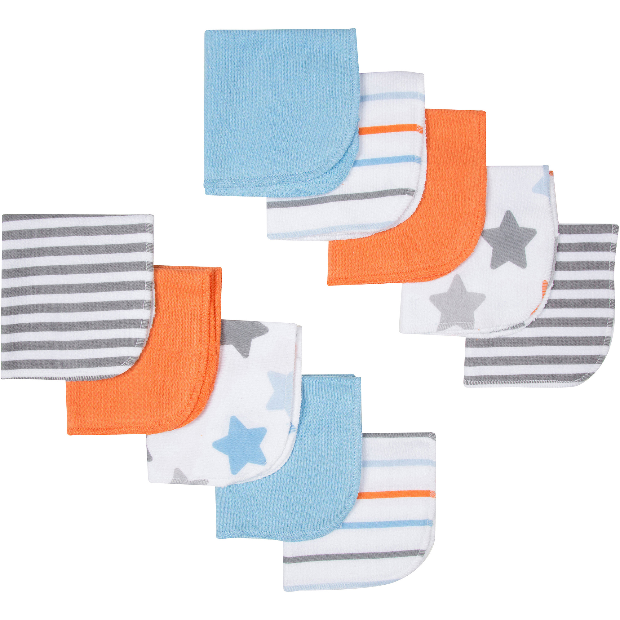 Gerber Newborn Baby Boy Terry Print Washcloths, 10-Pack
