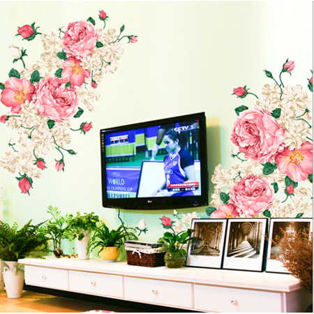 ZAJING Pink Peony Rose Flower Blossom Wall Stickers Kids Baby Room Art Decor Decals