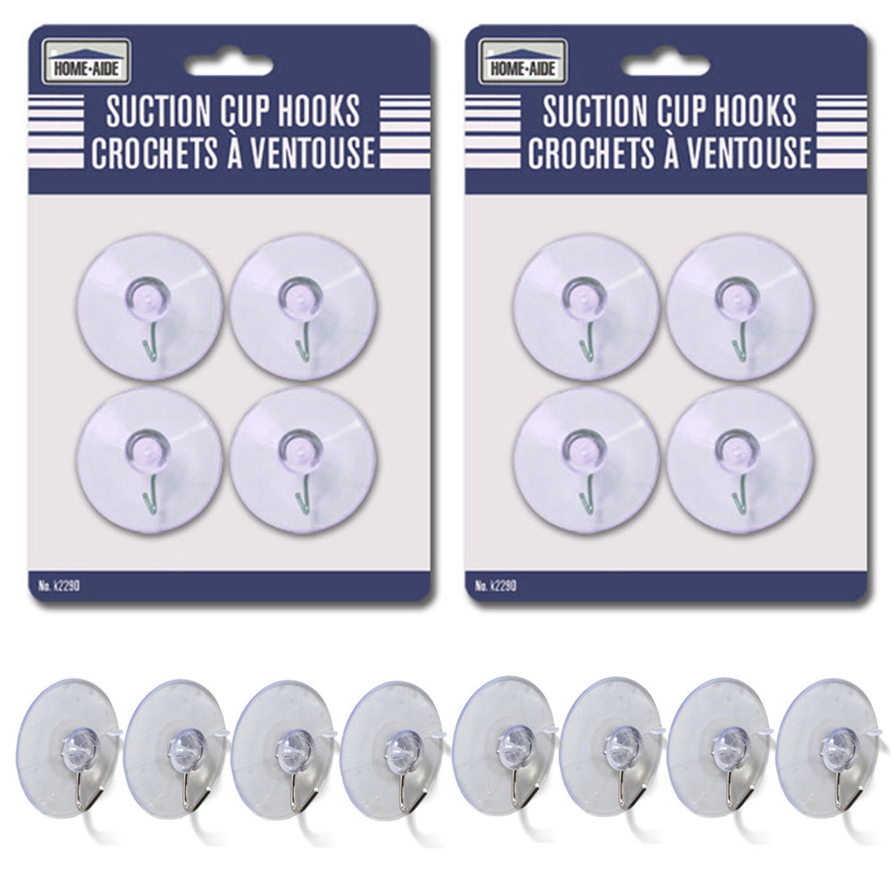 Details about  /Suction Cup Hooks 80mm Dia Clear PVC with Stainless Steel Wall Hooks 8 Pcs