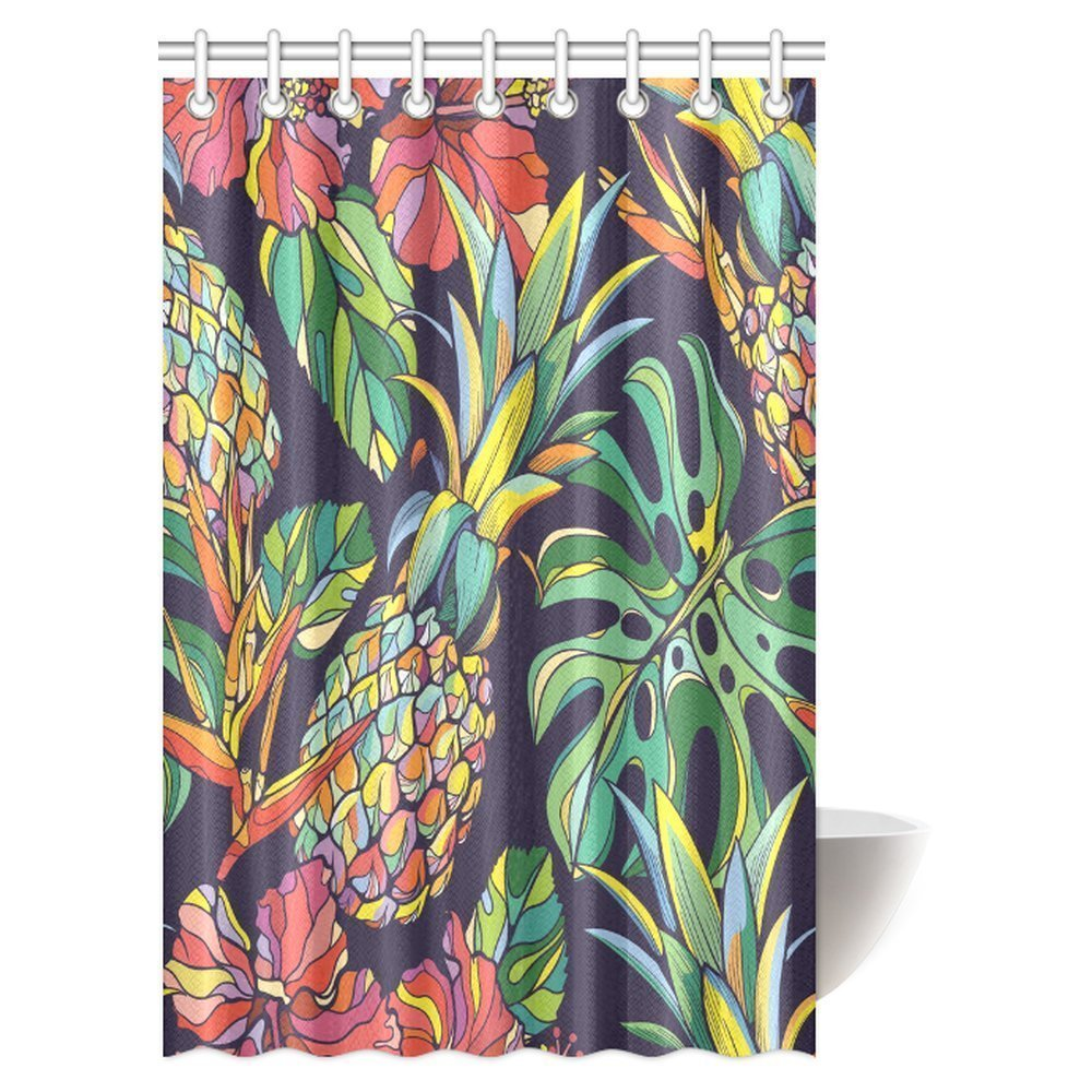 MYPOP Pineapple Decor Shower Curtain, Pineapple Pictogram