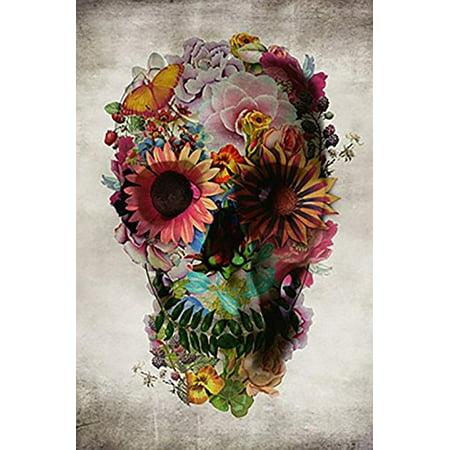 Flower Skull by Ali Gulec 36x24 Pop Art Print Poster Day of the Dead for $<!---->