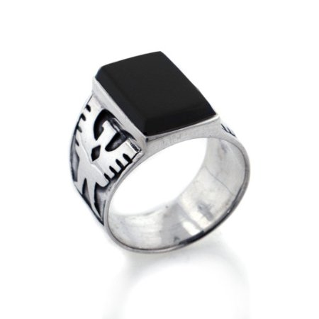 Heavy Eagle and Black Onyx Mens Band Sterling Silver Ring