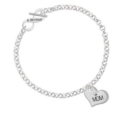 Large ''Mom'' Heart with Clear Crystal & Beyond Infinity Toggle Chain (God's Heart Bracelet)