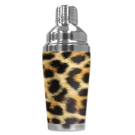 Mugzie brand 16-Ounce Cocktail Shaker with Insulated Wetsuit Cover - Faux Leopard Fur