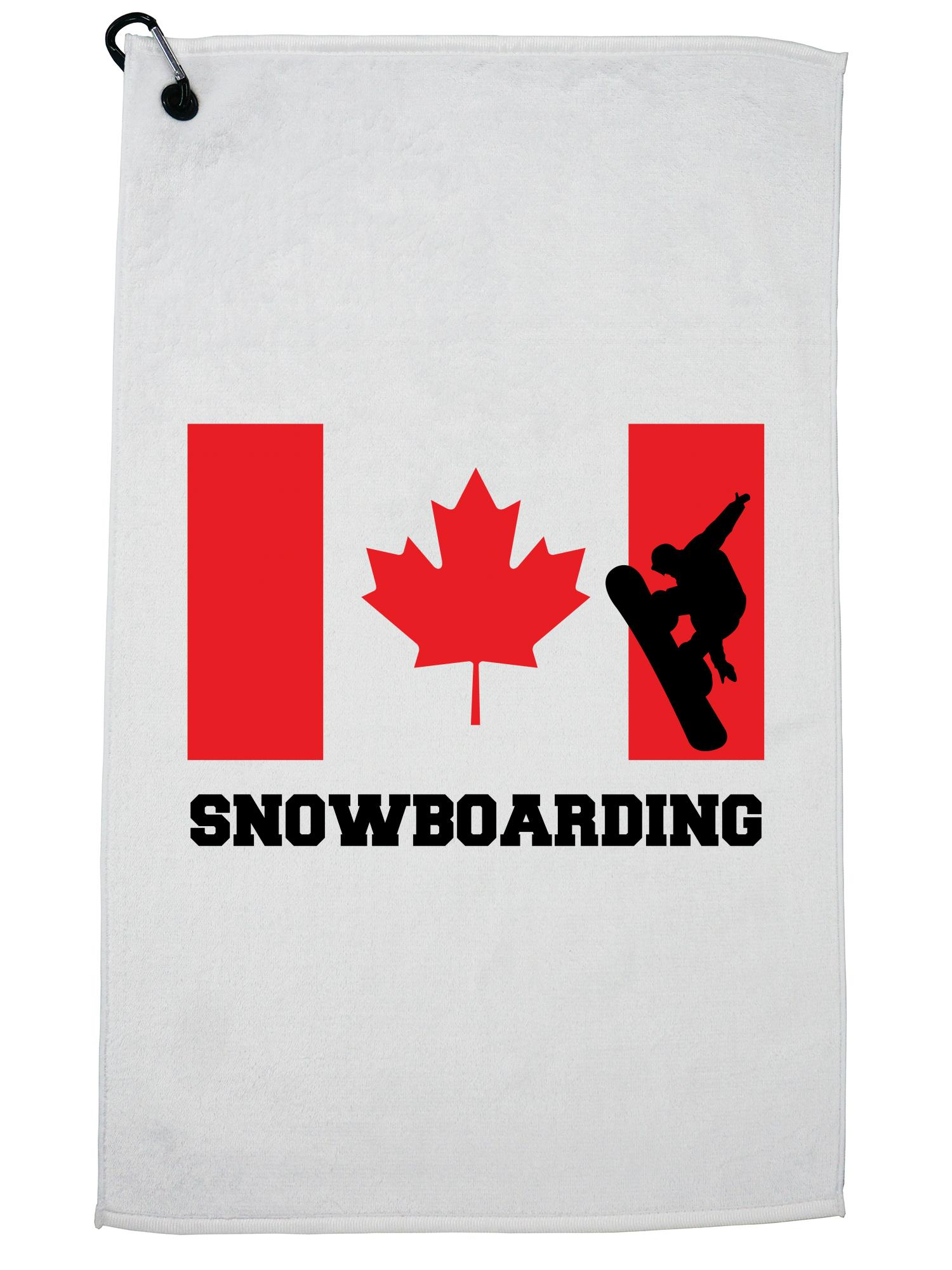Canada Olympic Snowboarding Flag Silhouette Golf Towel with Carabiner Clip by Hollywood Thread