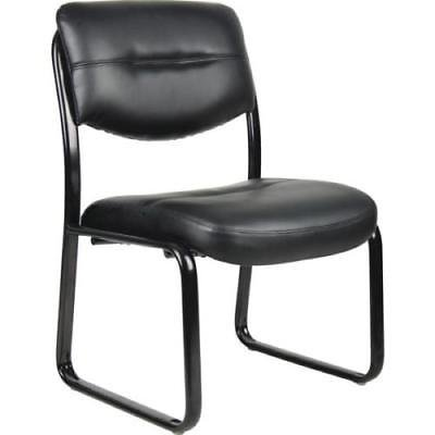 Boss High Back LeatherPlus Side Chair, Sled Base, Black