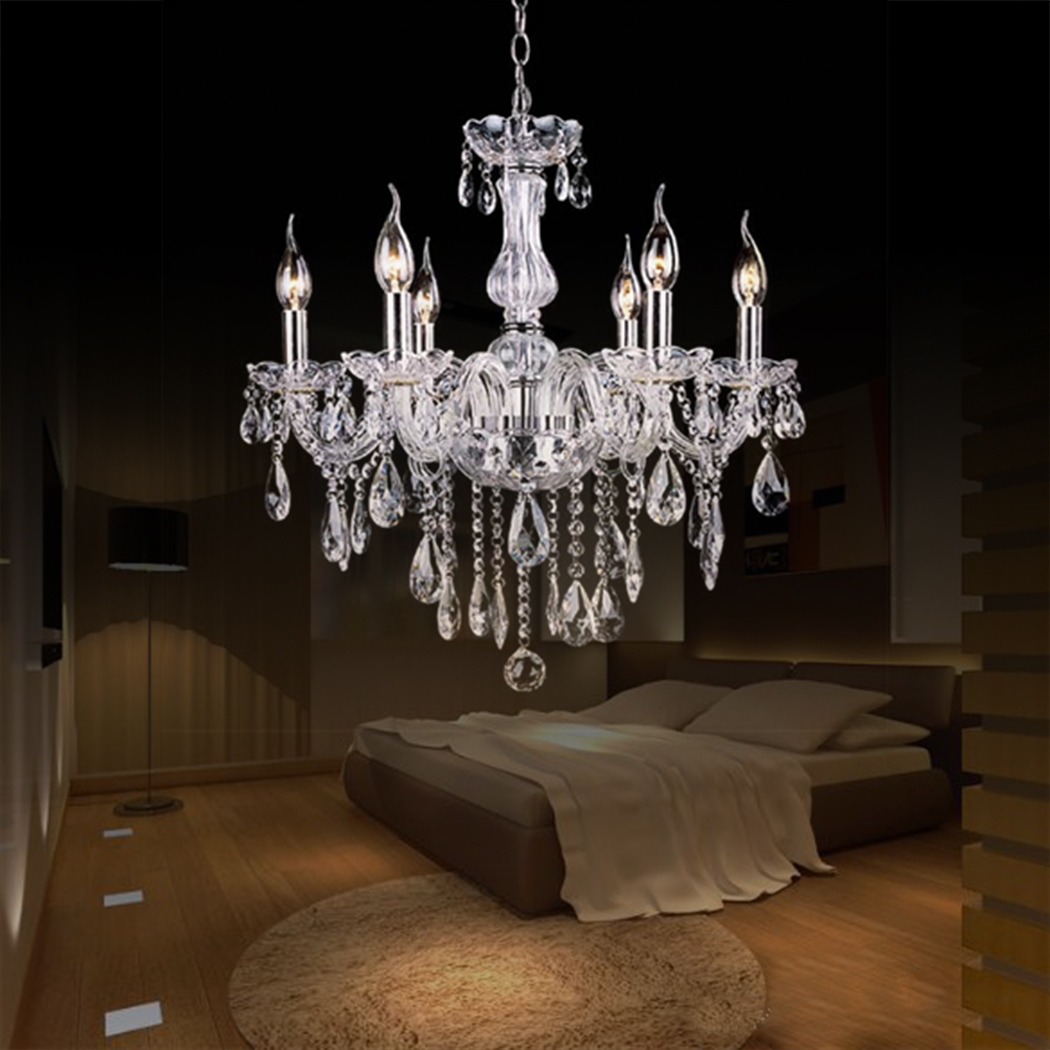 Crystal Lamp Fixture Pendant 6 Lights Ceiling Chain Candle Chandelier smt by