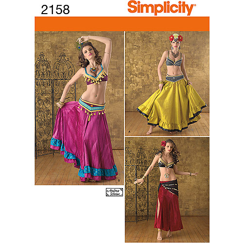Simplicity Pattern Misses' Belly Dancer Costumes, (14, 16, 18, 20, 22)