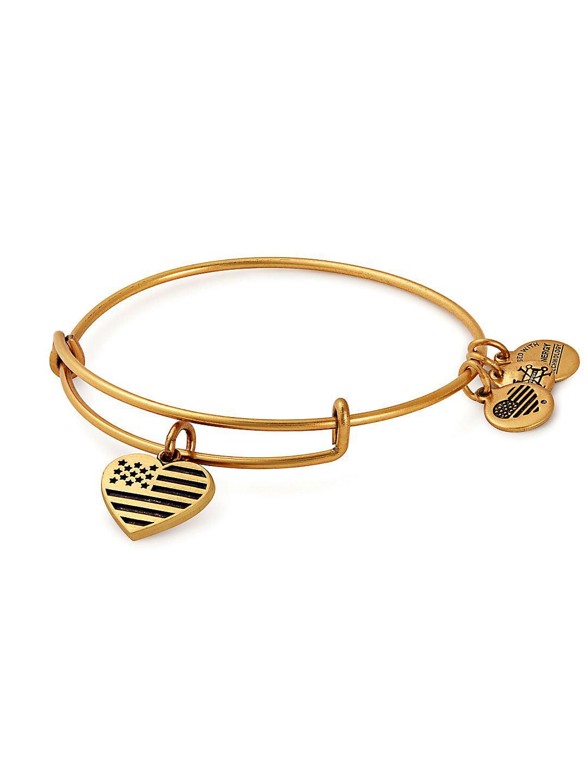 Valentine's Day Heart & Flag Goldtone Charm Bangle Bracelet
