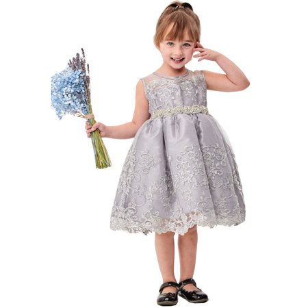 - Girls Silver Flower Embroidery Ribbon Special Occasion Dress