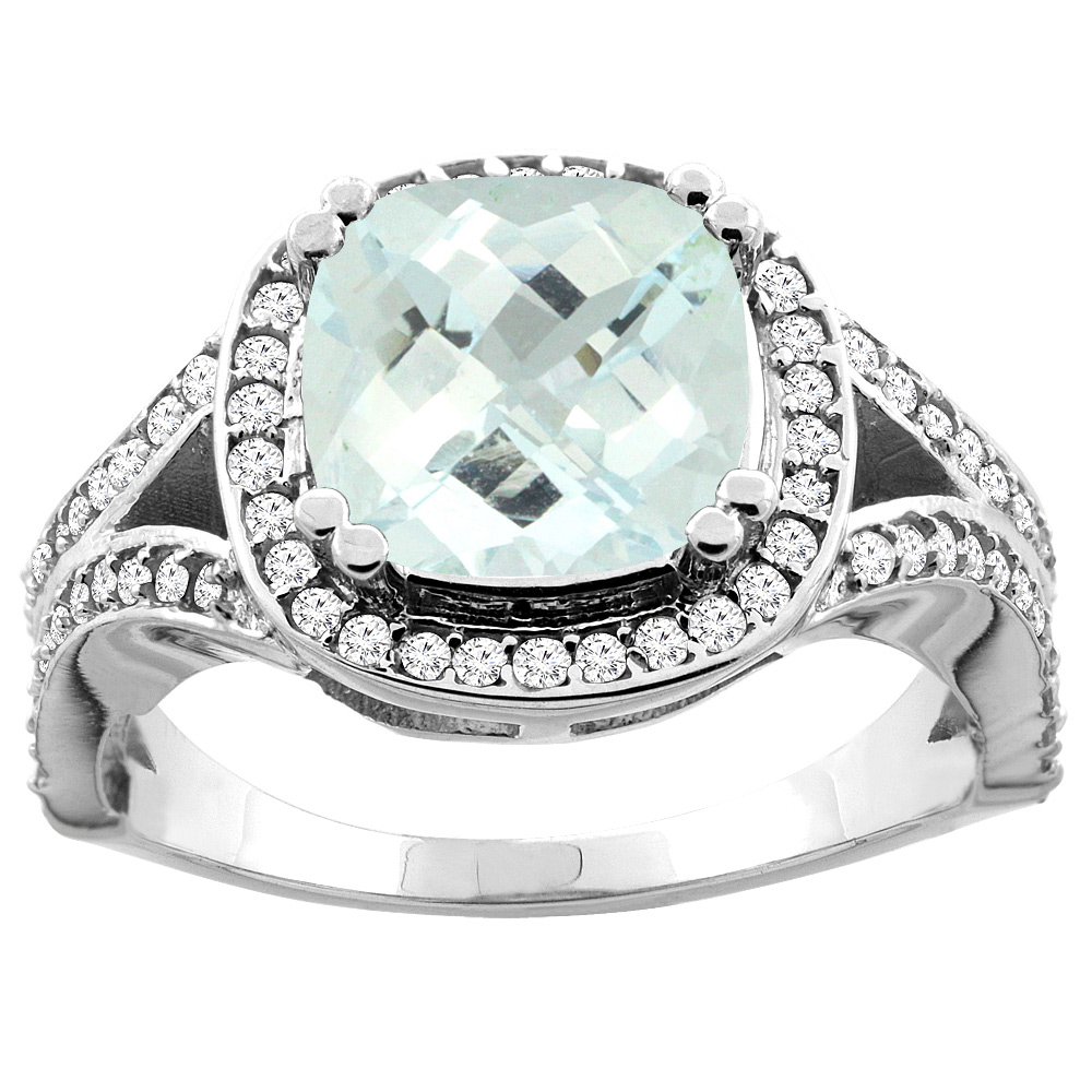10K White Gold Natural Aquamarine Split Ring Cushion 8x8mm Diamond Accent, size 5 by Gabriella Gold