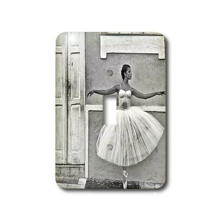 3dRose Black and White ballerina dancing in the historical district Pelourinho, Single Toggle - Ballerina Single