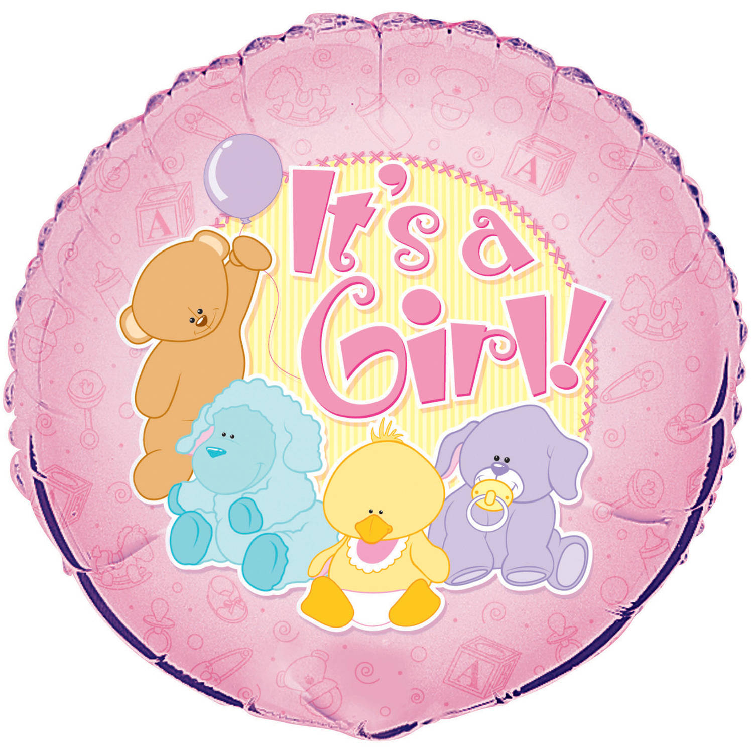 Foil Baby Animals It's a Girl Baby Shower Balloon, 18 in, Pink, 1ct