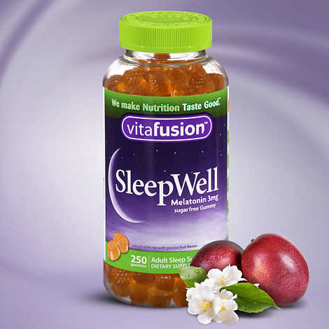 vitafusion SleepWell, 250 Gummies Sleep Support for Adults Natural White Tea with Passion Fruit Flavors Gluten Free - White Gummy