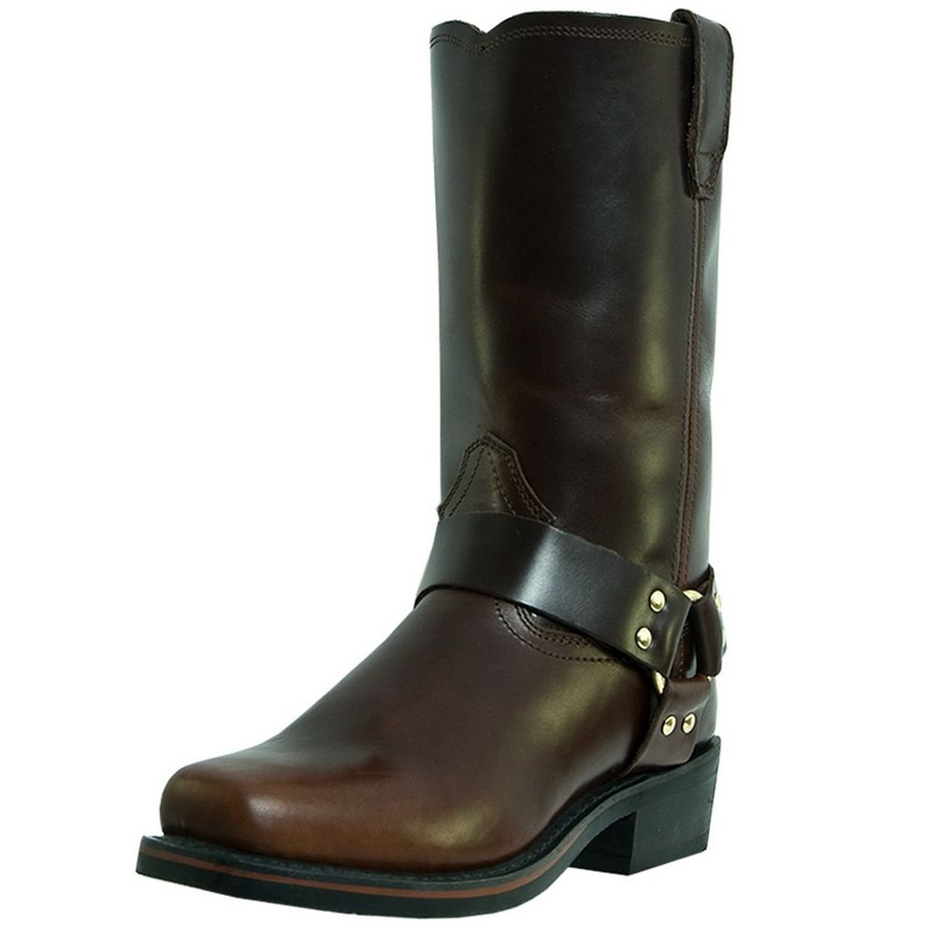 Dingo Motorcycle Boots Mens Leather Jay Harness Mahogany DI19056 by Dingo