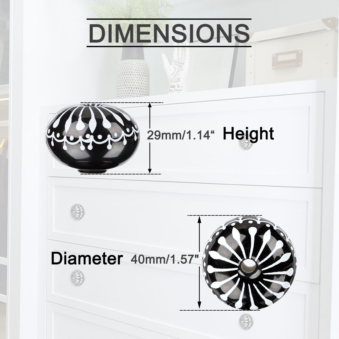 40mm Ceramic Knobs Round Drawer Pull Handle Wardrobe Door Accessories 4pcs #1 - image 2 de 7