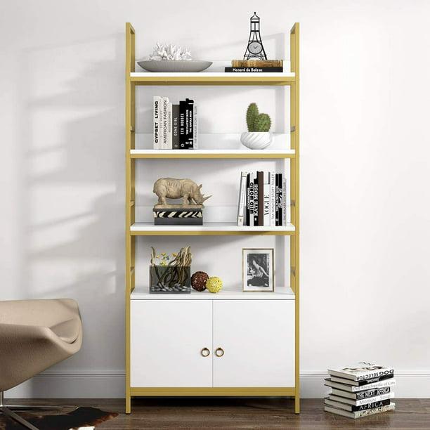 Tribesigns Bookshelf with Door, Modern 4-Tier Open Etagere Standard Storage Bookshelf Standing Wooden Display Bookcase with Double Doors for Home Office